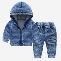 Autumn Jeans Hooded Top and Stripe Pants Set Korean Fashion ...
