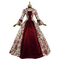 Thema Kostüm Neueste S-5XL Frau Vintage Mittelalterliche Kleid Party Elegant Prinzessin Kostüme Victorian Bell Sleeve Floral Abendkleider