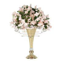 Party Dekoration 10 stücke Glänzende Gold Hochzeit Blume Vasen Tischmittelstück Metall Silber Trompete für Home Event