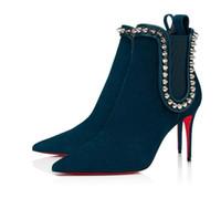 Womens altos New Sexy Heels Spikes Suede boots bota vermelha Fundo de couro do tornozelo Inverno Bombas Paris Botas Tamanho 35-41