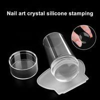 1 set Neue Nail Stamping Schablone Werkzeug-Nagel-Kunst-Stampfer Schaber Set mit Cap Transparent Silikon Stempel Werkzeuge