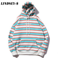 LINDSEY SEADER Hommes Harajuku rayures Sweat-shirts Hip Hop Streetwear Sweat à capuche 2020 hommes Casual poches Hooded Tops