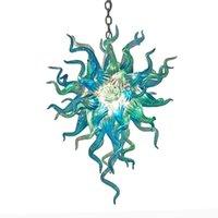 Aqua Blue Long Chain Подвеска Лампы Современные выдувное стекло люстры электроос Настроенный Чихули Стиль Люстра для гостиной Home Light