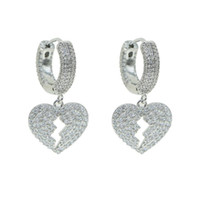 New broken heart dangle charm Hoop Earrings for lady Geometr...