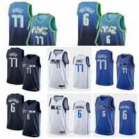 2020 hommes Basketball bon marché Luka Doncic Jersey 77 Krisps Porzingis 6 Dirk Nowitzki 41 Édition gagnée Ville cousue bleu marine Blanc Blanc
