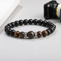 New Arrival 8mm black glass beads bracelet for women men handmade tiger eye micro pave zircon gasket charm bracelet fashion jewelry gift