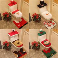 Туалет Foot Pad сиденья Крышка рождественские украшения Счастливый Санта стульчак Обложка и Ковер ванной комнаты Санта-Клауса