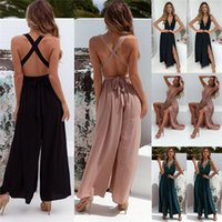 HIRIGIN Newest Women Deep V Neck Jumpsuit Ladies V-neck Sleeveless Playsuit Casual Party Loose Wide Leg Romper