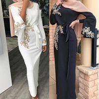 Ид Мубарак Абай Дубай Турция мусульманской Хиджаб платье Кафтан Кафтан Marocain Ислам Одежда Платье для женщин Robe Musulman Vestidos
