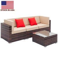 Premium Comfort Stuhl Sets Kombination komplett ausgestattet Weberei Rattan Sofa Set mit 2 stücke Ecke 1 stücke Einzelne Sofas 1 Stück Couchtisch