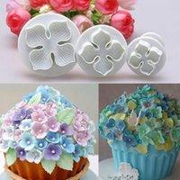3Pcs / Set Hydrangea Fondant décoration de gâteau de sucre Artisanat Plongeur Cutter fleur de fleur Moule Accueil Outils gâteau Drop Shipping