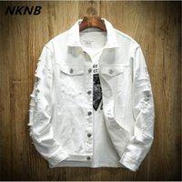 Autunno del denim del foro uomini giacca strappato Cowboy rivestimenti del cappotto maschio misura sottile casuale solido Cappotti Cotone Bianco Nero Plus Size 5XL