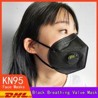 أسود KN95 قناع عالية الجودة مقاوم للأتربة تنفس 95٪ تصفية قناع الوجه القابل لإعادة الاستخدام 5 طبقة الغبار مضاد مصمم قناع أقنعة الفم شحن مجاني