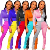 Echoine Women Patchwork Tracksuits Outfits Casual Stand Collar Zipper Short Coats High Waist Stacked Pants Sexy Two Piece Sets