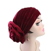 Мода Bonnet шарф хиджаб мусульманка Дама большой цветок Headwewar Velvet Тюрбан Европейские Американские байковые Hat Cap Индийских