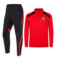 Marrocos Topo 100% Poliéster Atacado Futebol Futebol Treinamento Jersey Tracksuit Novo Design Soccer Jersey Football Shirt