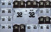 NCAA Vintage Jersey 16 Джим Планкетт 32 Маркус Аллен 25 Фред Билетникофф 12 Кен Стабильный 34 Бо Джексон 81 T. Брусельная черная белая сшитая мужская майки