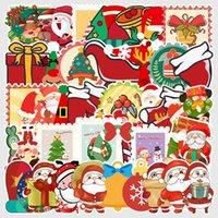 Feliz Navidad Pegatina de Santa Claus muñeco de nieve decorativo etiquetas para la caja de la maleta de equipaje guitarra portátil Juguetes para niños 50PCS