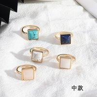Moda cor de ouro quadrados de pedra natural brancos anéis turquesa azuis Ring Amethyst howlite rosa de cristal para as mulheres de jóias