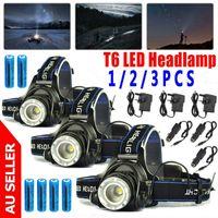 3PACK 800000LM غراندي للمصابيح الأمامية ترقية T6 LED العلوي السامي بدعم القابلة لإعادة الشحن مصباح + 18650 شاحن البطارية + سور + شاحن سيارة
