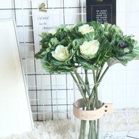 Flores decorativas guirnaldas 1 unid flor artificial oliva vegetales de oliva plato plato repollo para la decoración del hogar boda sosteniendo plantas pared