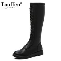 TAOFFEN Size 33-44 Women Knee High Boots Flat Heel Zipper Woman Long Boots Fashion Casual Winter Shoes Daily Woman Footwear
