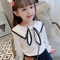 High-End Najnowsze Ins Kids Girls Floral Koszulki Bawełniane Fahons Turn-Down Koszula Jesień Długim Rękawem Paski Łuk Guma Drużyna Chothes