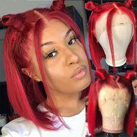 Pelucas del cabello humano del frente del encaje rojo para las mujeres negras Pelucas delanteras del encaje recto brasileño de la peluca de encaje brasileño Pelucas frontales de encaje
