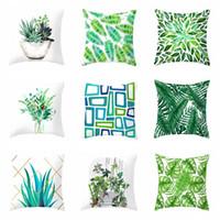 Ev Koltuk Yastık Yastık 45 * 45 cm Yeşil Yaprak Basit Baskı Kadife Yastık Kapak Salon Yatak Dekor Tropikal Bitki Yastık VT1502