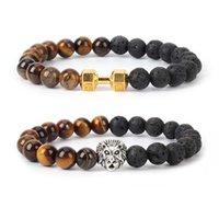Charme Armbänder Mode Paar Tigerauge Stein Natürliche vulkanic Classic Black Lava Leopard Lion Dumbbell Kreuz Buddha Perlen Armband