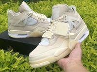 Air Jordan 4 retro off white Krem Erkek Tasarımcı sporları kapalı 4 SP WMNS Yelken Muslin Beyaz Siyah Erkekler Kadınlar Basketbol Ayakkabı eğitmenler kutusu ile sneaker