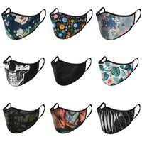 두개골 꽃 검은 얼굴 마스크 새 공장 Mascarilla 빨 재사용 Mascherine 패션 사용자 정의 Earloop 자전거 보호 -4- C2 연기