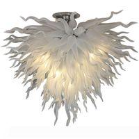 Klassische weiße Kronleuchter leuchtet LED-Design-Kunst-Beleuchtung D36inch Hand geblasenes Glas-Kronleuchter-Lampe Wohnzimmer