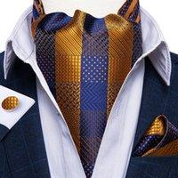 العلاقات القوس الأزياء خمر 100٪ الحرير الرجال أسكوت التعادل الذهب الأزرق تحقق حفل زفاف ربطة العنق cravat جيب ساحة أزرار أكمام 3 قطع مجموعة dibangu