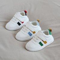 Xiaoliubao 1-2-3 Years Old осень Малой белая обувь Новых мальчики и девочки Мягкой Soled Детской обувь Magic Stick Полуботинки