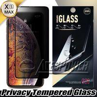 Volledige cover Privacy gehard glas voor iPhone 12 Mini 11 PRO MAX X XS XR 8 7 6S PLUS met papierpakket