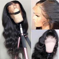 İnsan Saç Peruk Dantel Ön İnsan Saç Peruk 13 * 4 Dantel Kapatma Peruk Siyah Kadınlar Için Brezilyalı Vücut Dalga Peruk ModernShow Dantel Frontal Peruk