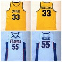 Mens NCAA Florida Gators College # 55 Williams # 33 Basquete Jason Jersey DuPont High School Costurado Camisas Branco Top Qualidade