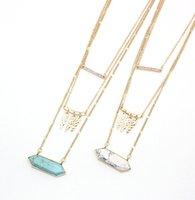 متعدد الطبقات مسدس الفيروز kallaite howlite الحجر الطبيعي قلادة الذهب سلسلة القلائد الملحقات هندسية مجوهرات
