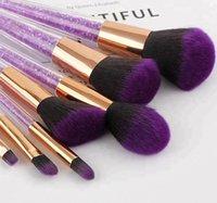 7 pcs ferramenta de beleza Kit de cristal roxa de escova da composição Preto roxo do diamante escova da composição