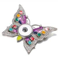 Charme Bracelets Snap Bouton Broche Bijoux Bijoux Crystal Papillon Pins Fit 18mm Pour Femmes Mariages Broches Cadeau
