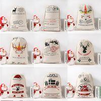 هدية عيد الميلاد أكياس قماش من القطن حقيبة سانتا أكياس Monogrammable سانتا كيس الرباط حقيبة زينة عيد الميلاد سانتا كلوز دير LJJA1330