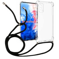1.5mm Thicken Transparent Shockproof necklace crossbody Lanyard 160cm rope TPU Case for Vivo iQoo Z1x 5G Cell phone Cover