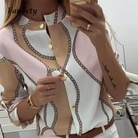 Fanbety Kadınlar Ayarlanabilir Kol Zincirler Ananas Baskı Düğme bluz gömlek Kadınlar Şık Boş En seksi V Boyun Temel blusas