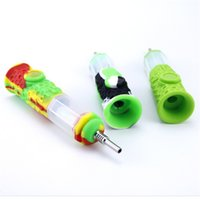 10mm 티타늄 네일 팁 휴대용 여행 키트 봉 석유 버너 아크릴 Dabber 물 파이프 담배 팔각 실리콘을 살짝 스트로