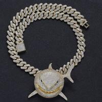 Großhandel Hop Bling Iced Out Shark Anhänger Halsketten mit Platz CZ Cuban Link Kette für Männer Rapper Schmuck Drop Shipping