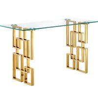 Фабрика Современная Мебель для гостиной Роскошные из нержавеющей стали Золото Крыльцо стекла Консольный стол