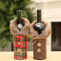 HOT Creative New Wine Cover with Bow Plaid Linen Bottle Clot...