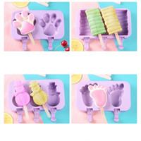 Silikon Dondurma Kalıp Karikatür Sevimli Dondurma Popsicle Buz Yapıcı Kalıp Ev Mutfak DIY ev yapımı yiyecek Food Grade Popsicle Kalıplar VT1515