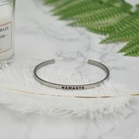 """NAMASTE"" Positive Inspirational Quote Hand Stamped Bangle For Girls Gift"